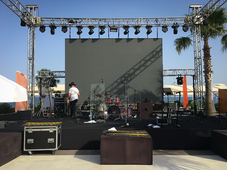 open air show stage set up with led screen