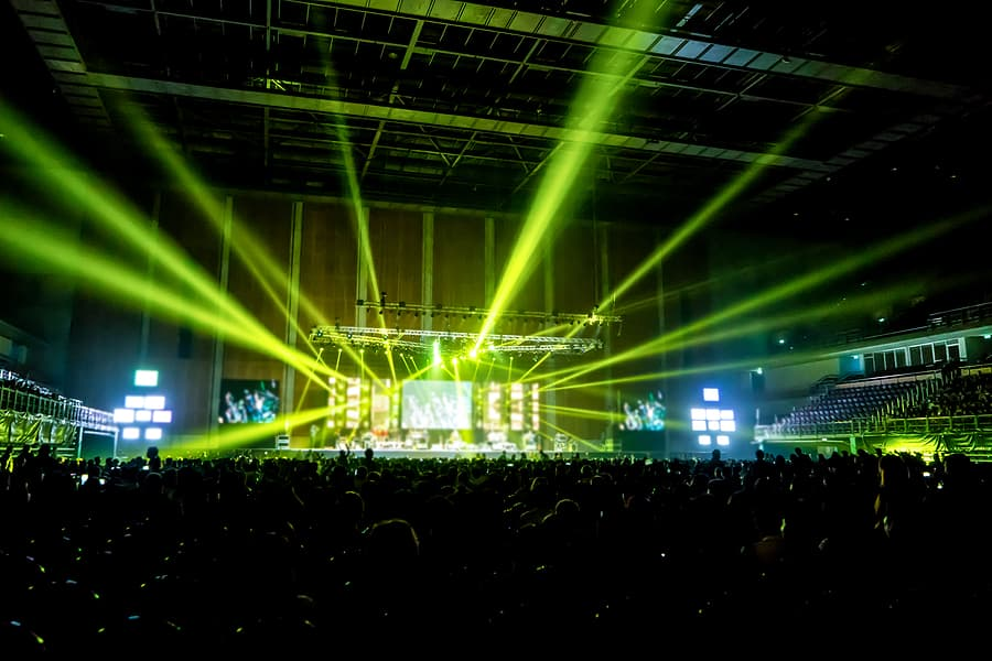 a well designed stage with lights and LEDS